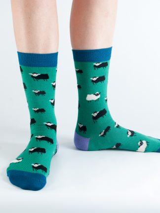 Bamboo Socks Green Sheep