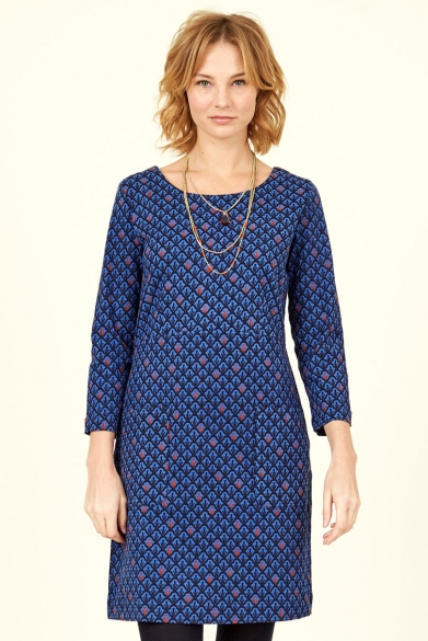 Cotton Stretch Tunic Dress Sapphire