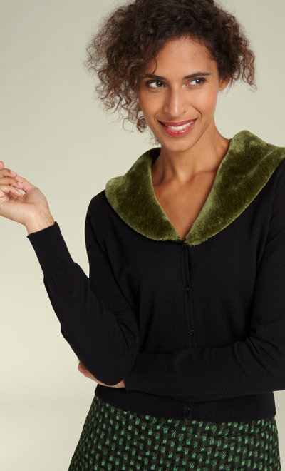 Cardi Fake Fur Collar Cupcake Oasis Green