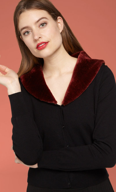 Cardi Fake Fur Collar Cupcake Brique Red