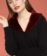 Cardi Fake Fur Collar Cupcake Brique Red