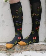 Knee Socks Dark flower