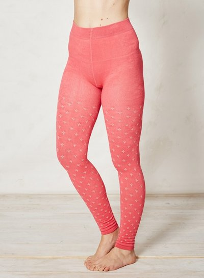 Elaina Patterned Knitted Bamboo Tights Red Orange