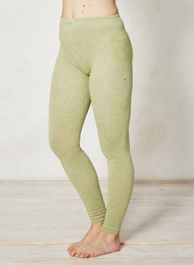 Elaina Patterned Knitted Bamboo Tights Leaf