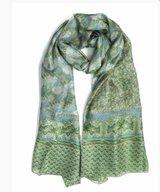 Scarf Silk Leaf Green