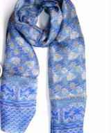 Scarf Silk Leaf Blue