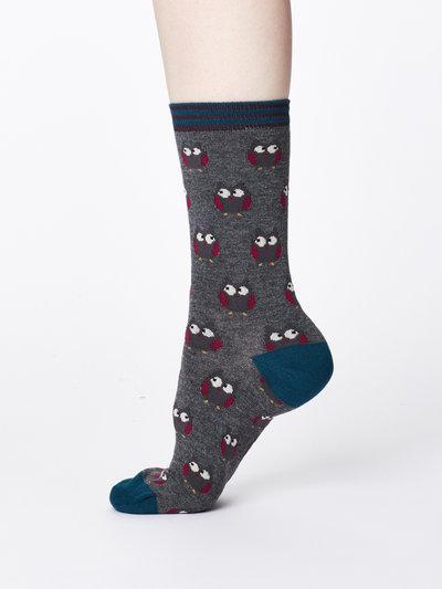 Owlie Bamboo Socks Mid Grey Marle