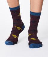 Dinosaur Bamboo Socks Aubergine