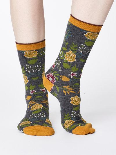 Garden Floral Print Bamboo Socks Mid Grey Marl