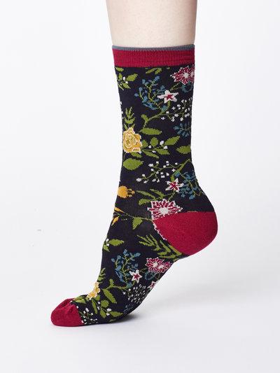 Garden Floral Print Bamboo Socks Navy