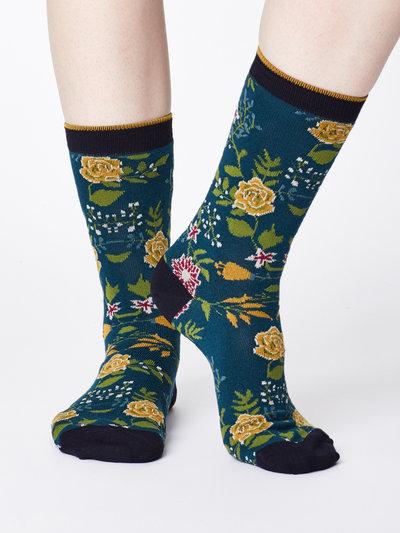 Garden Floral Print Bamboo Socks Teal Blue