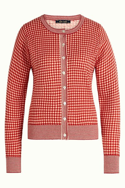 Cardi Roundneck Vichy Icon Red
