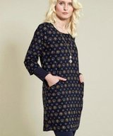 Folk Tunic Dress Navy