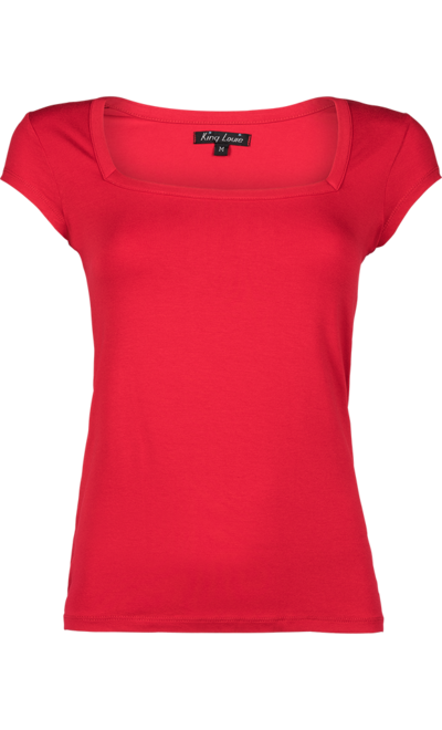 Square Top Viscose Lycra Red
