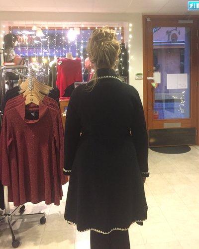 WoolCardigan/Coat Black and White Anna-Lena