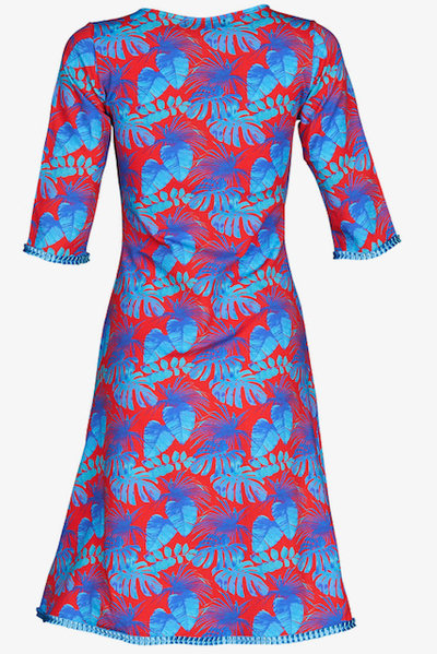 Stella Dress Red Blue Leaves