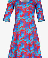 Stella Dress Red Blue Leaves