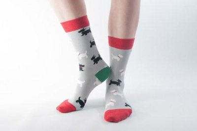 Bamboo Socks Grey Scottie
