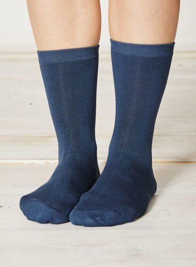 Solid Jackie Plain Bamboo Socks Denim