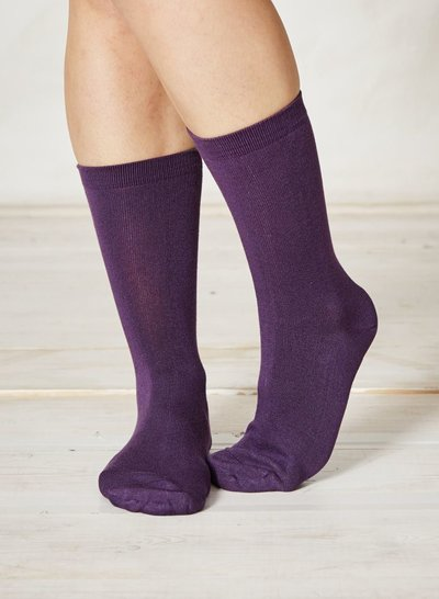 Solid Jackie Plain Bamboo Socks Purple
