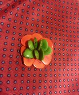 Brooch Nutshell Green-Orange