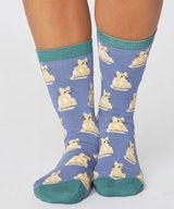 Cute Cat Bamboo Socks Sea Blue
