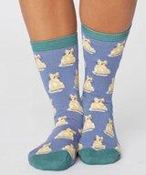 Cute Cat Bamboo Socks Sea Blue
