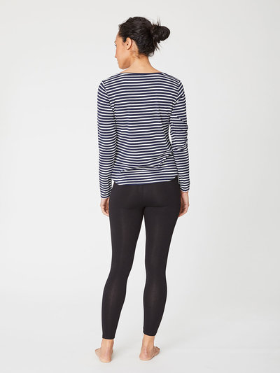 Bamboo Base Layer Tee Navy Stripe
