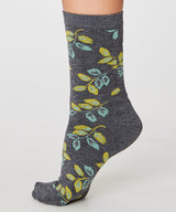 Larkin Leaf Bamboo Socks Grey Marley