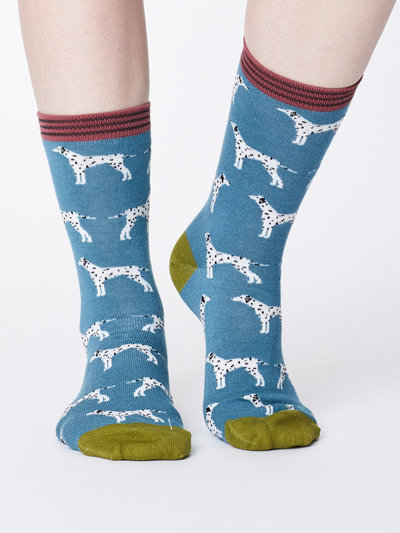 Dalmation Bamboo Socks River Blue