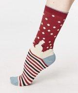 Snowman Bamboo Socks Cranberry