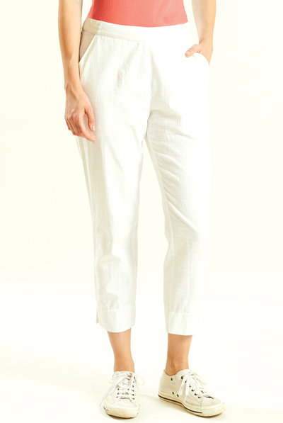 Slim Crop Trouser White