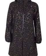 Helen Rainjacket Black Gold Confetti Hearts